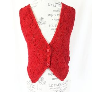 Vintage It's Our Time Red Crocheted Sweater Vest